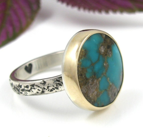 Natural Turquoise Ring - Bisbee Turquoise Ring - Sterling Silver with 14K Gold - natural turquoise mixed metal ring - size 6 3/4 - size 6.75