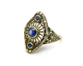 Vintage Sapphire Ring - 14k Gold Filigree, Antique, September Birthstone Jewelry
