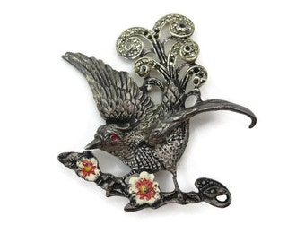 Marcasite Bird Brooch -  1930s Pot Metal Costume Jewelry