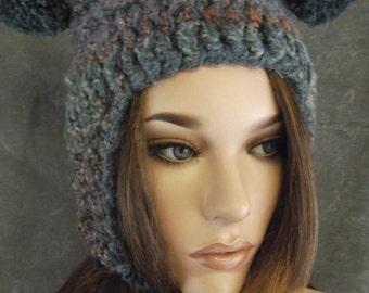 Accessory,Hat,Crochet,Blue,Pompom Helmet,Women,Teens,Ear flap Hat,Winter,OOAK,