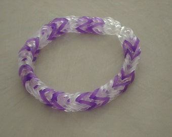 Rainbow Loom Fishtail Bracelet Purple and Clear Bands