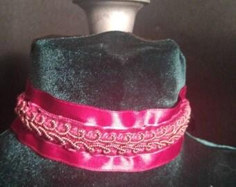 Fuschia Ribbon Lace Collar