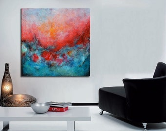 Acrylic modern painting on canvas, abstract art, contemporary aqua blue painting , lobby art, office painting, living room wall art