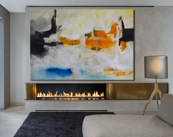Blue gold painting on canvas, bold abstract art, yellow blue painting, lobby art, office painting, living room, lobby office huge art