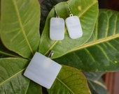 Stained Glass White over1 inch Pendant with Earrings on Silver plated mounts
