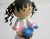 Paper Quilled Miniature Doll in white polka dot dress holding a bird, READY TO SHIP