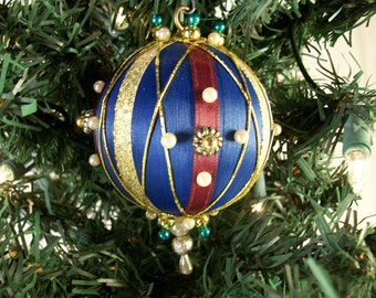 Christmas Ornament in Blue with  Burgundy and Gold Accents in the Victorian Style