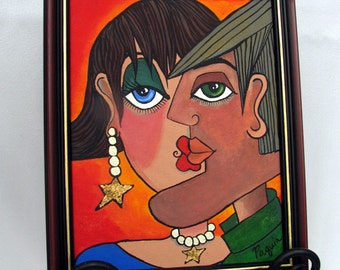 Face Painting Original Acrylic Womans Face Mans Face Lovers Portrait Abstract Picasso Style Framed Painting on Etsy