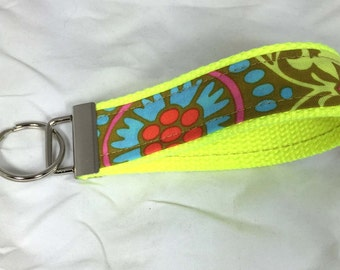 Wristlet Key Fob Wrist Key Chain Key Holder in Amy Butler Belle Ready to Ship