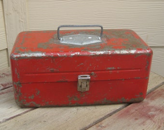 Vintage Old Pal Red Shabby RustyMetal Fishing Tackle Box Industrial