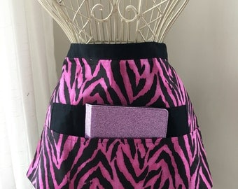Half Apron Teacher Vendor Art Craft  iPad Pink Zebra Stripe Black Fabric (4 Pockets)