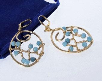 Aquamarine Earrings, blue beaded earrings, Modern wire wrapped leaf shaped dangles, March birthstone earrings