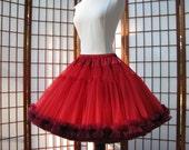 Petticoat Red Organdy with Garnet Chiffon Size Medium Custom