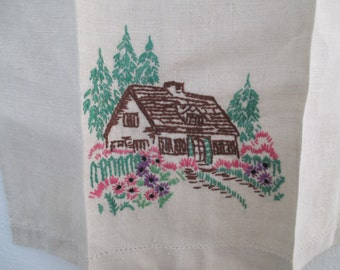 Embroidered Hand Towel with Cottage Flowers Landscape Green Pink Brown Hemstitched