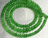 4.1mm-6.6mm Tsavorite Green Garnet Smooth Plain Rondelle Beads 18 inch Strand