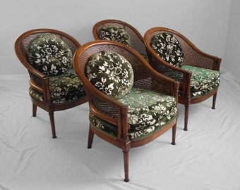 2 hollywood regency CANE & BARREL back accent chairs (sold in pairs)