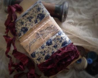 Wedding Wrap Set - 8 yards  - Something Blue -  Narrow French Inspired Ribbon Trim Bonjour Matching Distressed Gift Tag