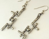 Vintage Brutalist Silver Earrings Cross & Ball Earrings