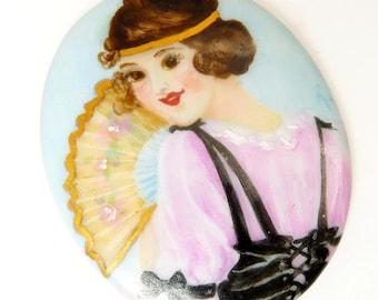 Vintage Art Deco Porcelain Portrait Brooch Unmounted Hand Painted Flapper Girl