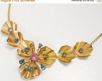 Vintage  Blue Rhinestone Flower Choker Necklace Rose Gold Petals