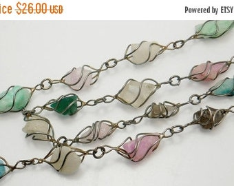 Vintage Wire Wrapped Multi Gemstone Necklace