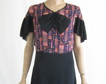 Vintage 20's Sheer Rayon  Art Deco Dress. Size Small