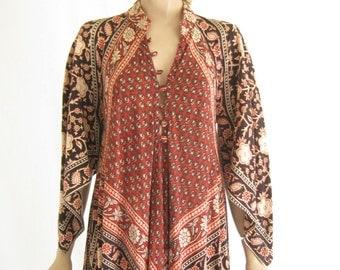 Vintage 70's Adina India Cotton Hippie Angel Wing Maxi Dress