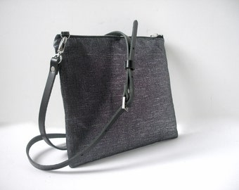 Black Cross Body Bag, CrossBody Purse, Metallic Linen Cross Body, Bag, Hip Bag, Cross Shoulder Strap