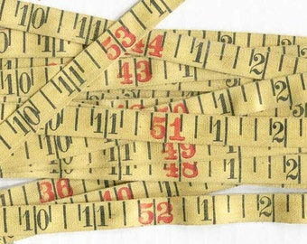 5 Foot Length of 1930 Vintage Linen Number  Measuring Tape in Black and  Yellow, Vintage Number Trim, Sewing Supply