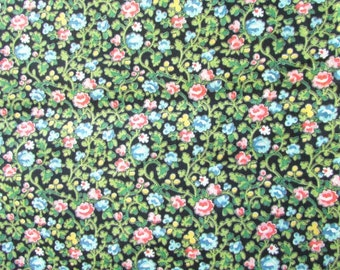 1 Yard Vintage 1950-60 Cotton Floral Design Fabric, Small Flower Pattern in Blue, Rose, Yellow on Black,  Old Mlll Stock