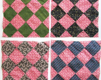 Group of 4 Antique Victorian 1890's Nine Patch Variation Quilt Squares w Double Pink and Calico Fabrics, Quilt Squares or Blocks, Quilting