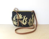 date purse  • crossbody bag - cactus • black - metallic gold - cactus and succulent print - black canvas - screenprinted • native