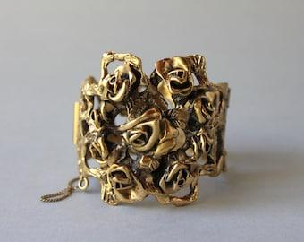 Jonathan Bailey for Trifari Bracelet / Vintage 1970s Rose Cluster Brutalist Bracelet / Trifari Floral Bangle