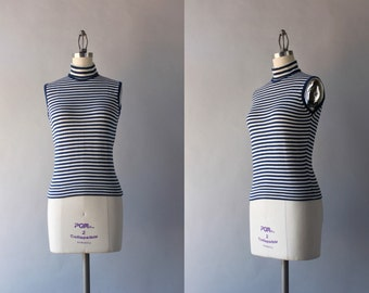 1960s Knit Top / Vintage Navy Striped Wool Top / 60s Nautical Turtleneck Sleeveless Sweater
