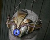 Gothic Steampunk Winged Goddess with Purple Blue Eye