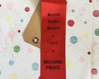 Vintage 1939 Seattle Dahlia Society red prize ribbon