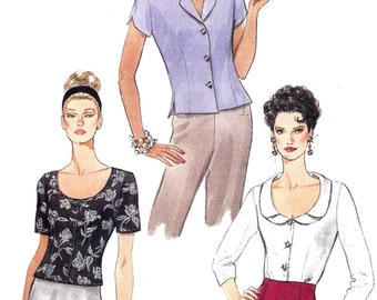 1990s Blouse Pattern Very Easy Vogue Vintage Sewing Semi Fitted Top Shirt Women's Misses Size 14 - 18 Bust 36 - 40 Inches