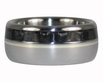 Titanium Ring with Black Carbon Fiber and Gold