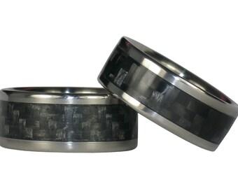 Gray and Black Carbon Fiber Ring Set