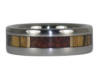 Titanium Ring with Black and White Ebony Wood and Red Tigers Eye