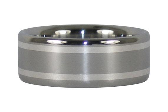 Silver Inlay Titanium Ring