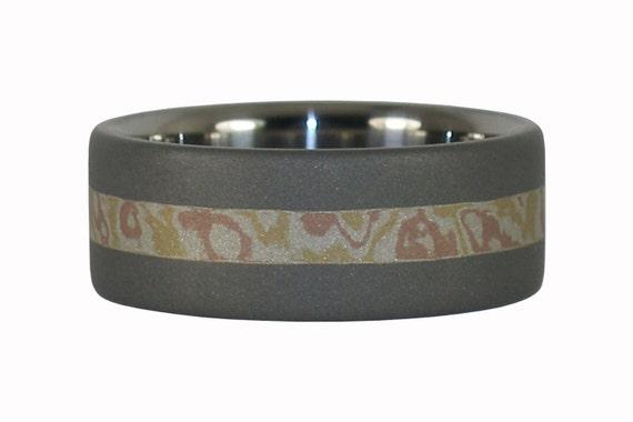 Titanium Ring Band with Mokume Gane Inlay