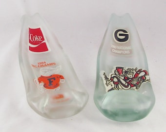 Georgia Bulldogs or Florida Gators - Vintage coke bottle -  Melted COKE bottle spoonrest or dish - things go better with Coke