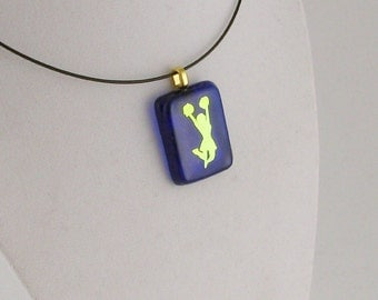 Cheer Leader, Pom Pom on royal blue - dichroic fused glass jewelry - Cheer Team, Blue and Gold (4270)