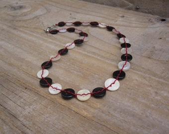 Delicate button necklace in black, white and red - one of a kind