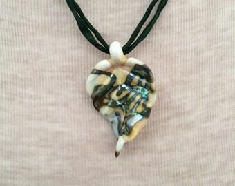 lampwork leaf necklace on silk cord sterling silver beads adjustable