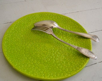 Lime Wobbly Plate - MILLEFLEURS pattern - dinner plate - ceramics - Wobbly Plates Series