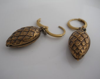 Vintage Brass Pinecone Earrings with Solid Brass Rounded Ear Wires Woodland Nature Organic Embossed Metal Jewelry