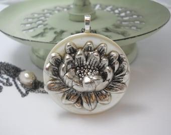 Lotus Necklace Large Silver Lotus Charm on Vintage Button Yoga Om Mani Padme Hum Lotus Blossom Meditation Spirit Jewelry Aum