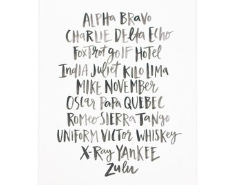 Alpha Bravo Charlie Art Print   8x10